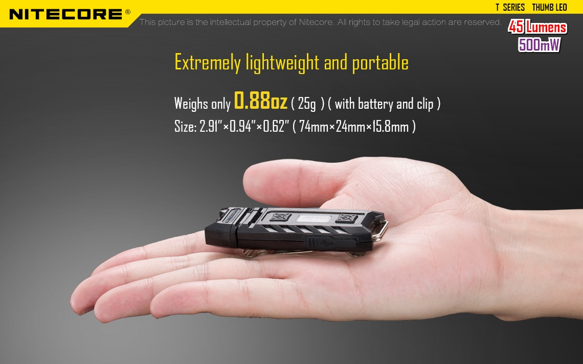 Nitecore Thumb Leo UV, Ultra Violet LED Keychain Flashlight, Lightweight Compact Light with UV LED, 45 Lumens Powerful Light for Outdoors, Work, Law Enforcement