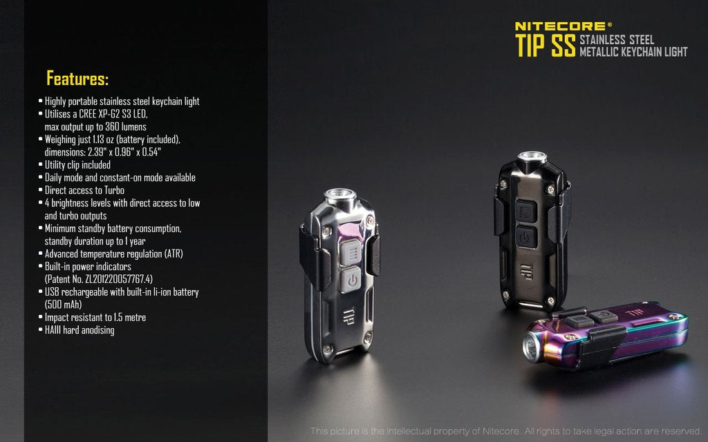Nitecore Tip SS | Stainless steel Tip Key Chain Led Flashlight | USB Rechargeable Key light | Powerful Torch