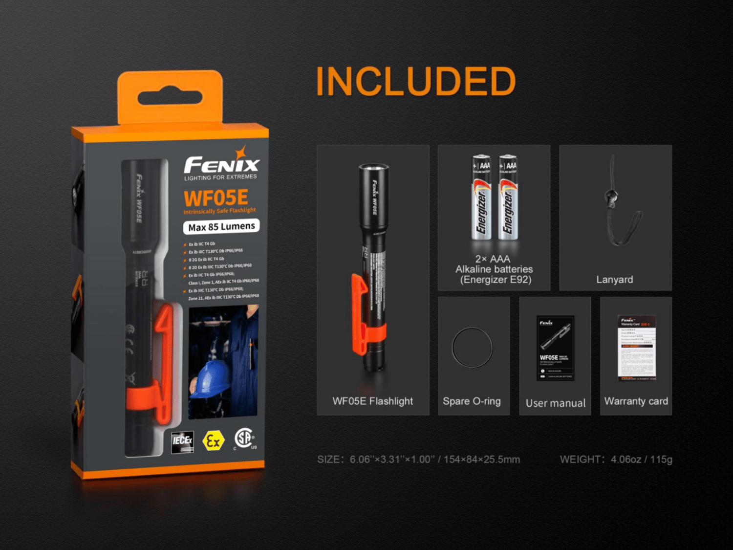 Fenix WF05E LED Flashlight, Intrinsically Safe Explosion Flameproof Torch in India, Pen Size Industrial Safe Torch, AA Battery Flashlight for Industrial Use
