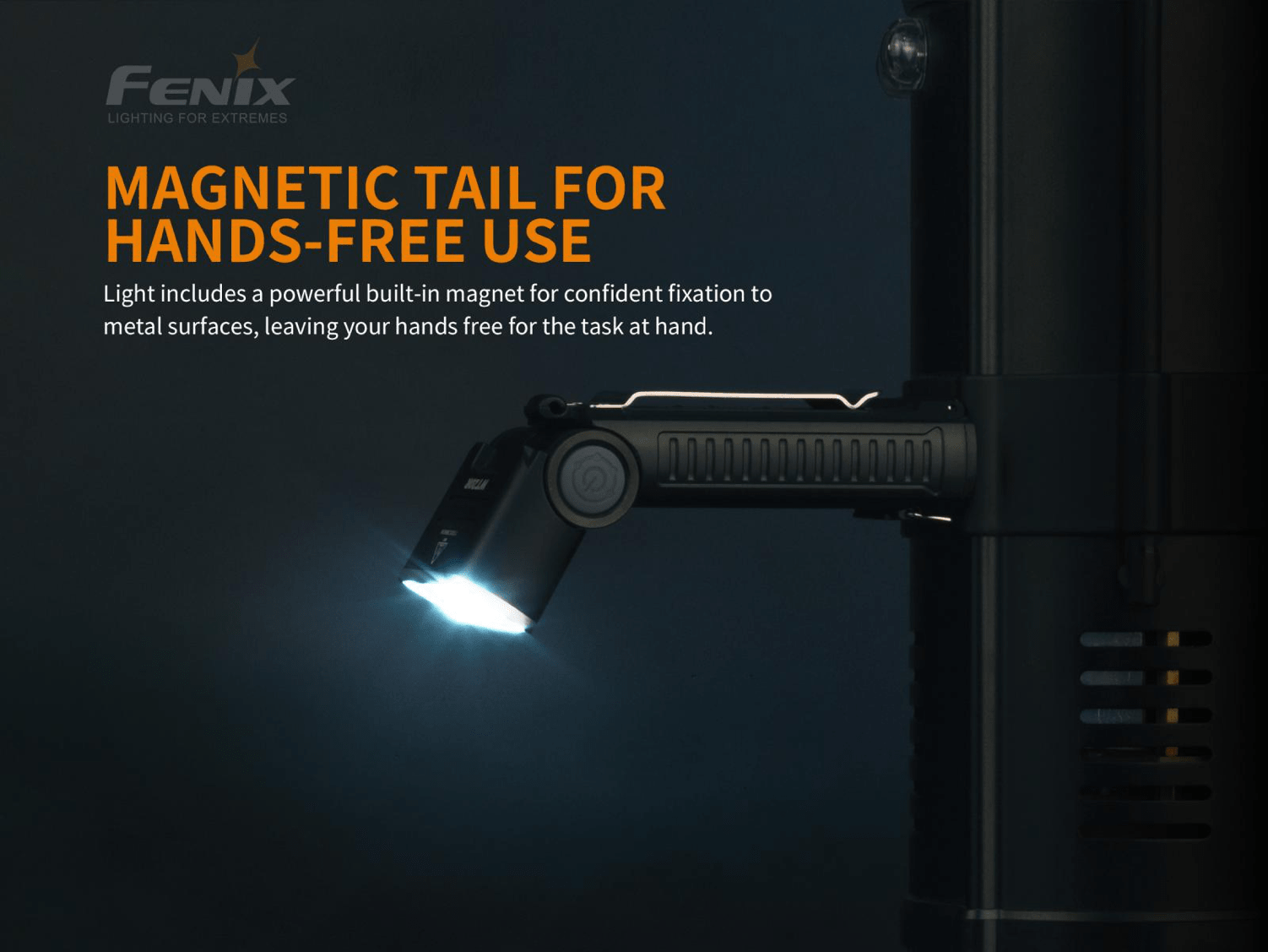 Fenix WT20R Rechargeable Multi-functional Tilting LED Work Light, 400 Lumens with angular head and magnetic base for EDC work, Compact Torch with Floodlight and Spotlight