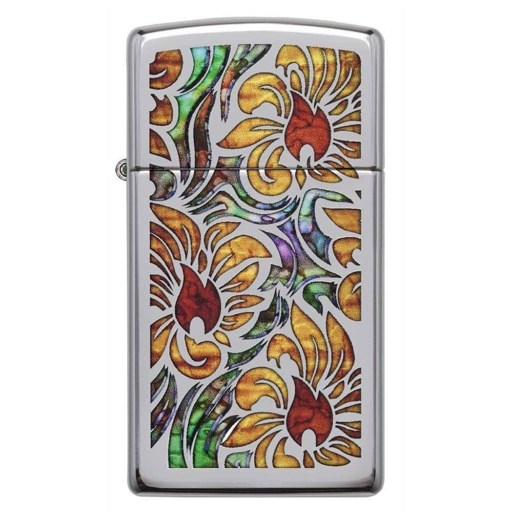 Zippo Slim Fusion Floral Design, Zippo 29702 Lighter, High Polish Chrome Pocket Size Best Lighter in India, Zippo India