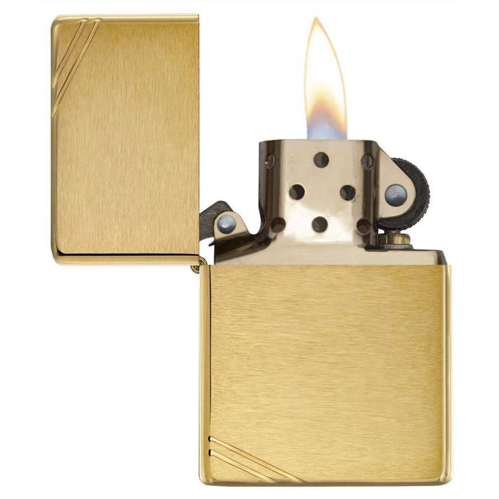 Zippo Replica Vintage with Slashes Brushed Brass Lighter, Zippo 240 Replica Lighter, Pocket Size Best Windproof Lighter in India, Zippo India