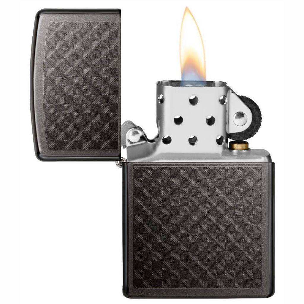 Zippo Gray Iced Carbon Fiber Design, Zippo 29823 Lighter, Pocket Size Best Windproof Lighter in India, Zippo India