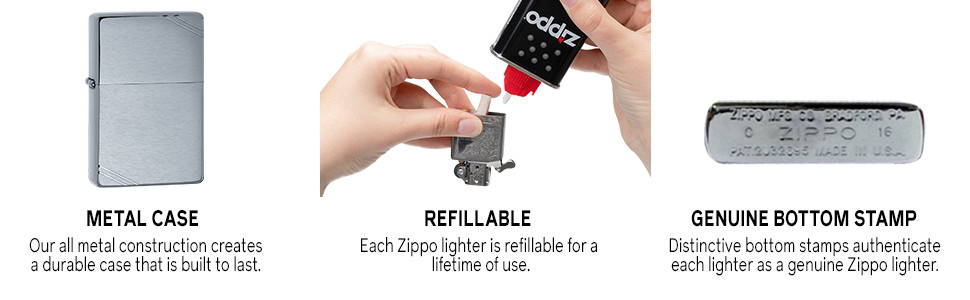 Zippo Vintage Brushed Chrome Lighter Without Slashes, Zippo 230.25 Lighter, Pocket Size Best Windproof Lighter in India, Zippo India