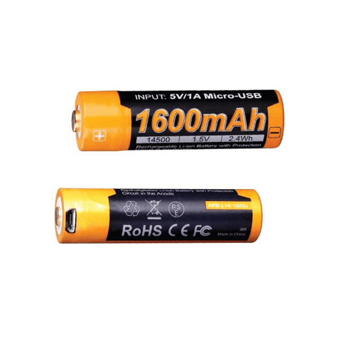 Fenix ARB-L14U 14500 1600mAh | 1.5V Lithium Ion (Li-ion) Button Top Battery with Micro USB Charging Port