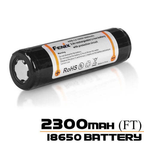 Fenix 18650 2300mAh 3.6V Protected Lithium Ion (Li-Ion) Flat Top Battery (ARB-L2-2300) - Blister Pack