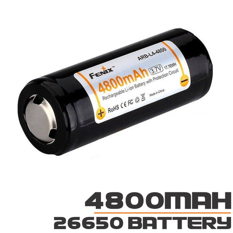 26650 Battery | Fenix ARB-L4-4800, 4800mAh | 3.7v | Rechargeable Li-ion Battery