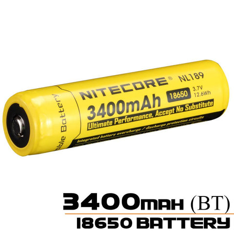 18650 Battery | Nitecore |  3400mAh Rechargeable Li-ion Battery (NL189 - 3.7v)