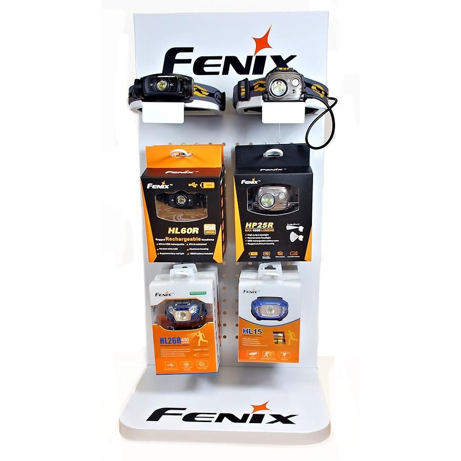 Fenix Flashlights, Headlamps Tabletop Display Stand, Showcase of Fenix Flashlights at Retail Store for Dealers