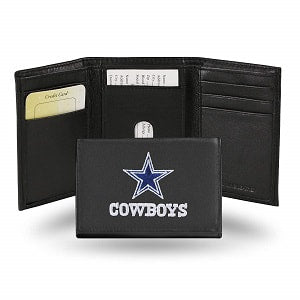 Dallas Cowboys --- Black Leather Trifold Wallet