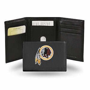 Washington Redskins --- Black Leather Trifold Wallet