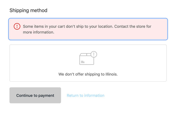 Cart Some Items Can't Ship