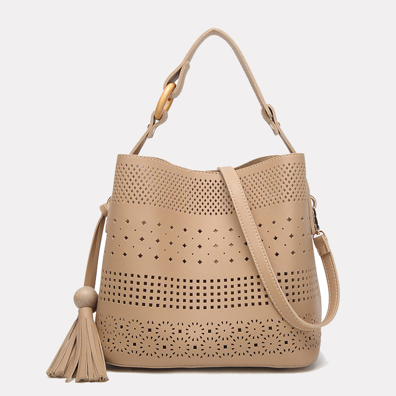 Women's Hollow Out Shoulder Tote Bag with Tassel