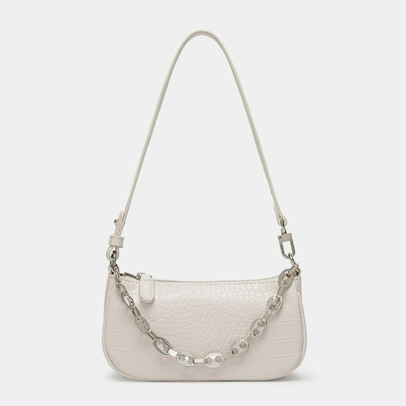 Women's Croc Print Baguette Bags with Chains