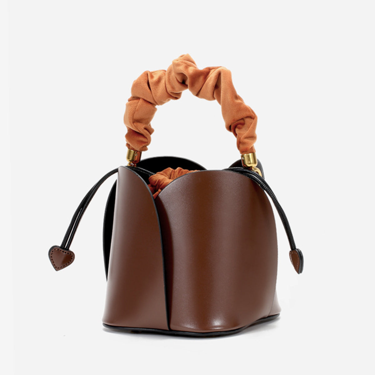 Women's Genuine Leather Bucket Bags with Drawstring Bag inside