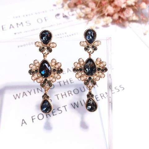 Vintage Crystal Flower Statement Earrings