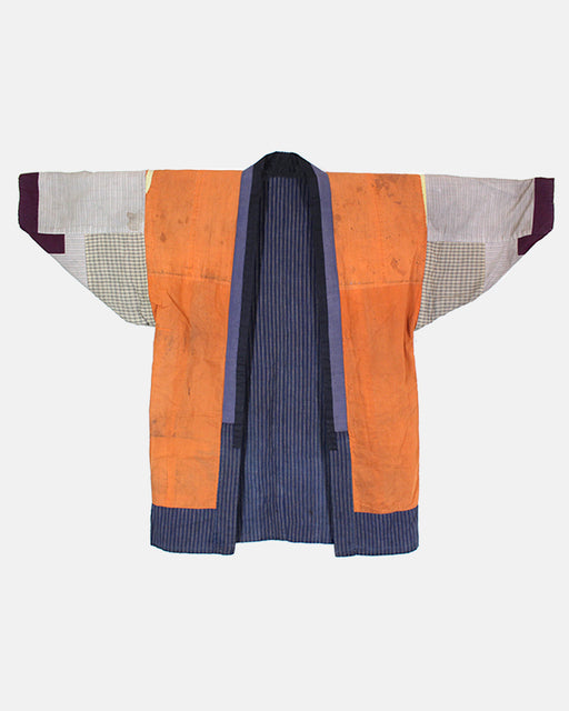 Vintage Reversible Noragi Jacket, Patched Orange & Indigo Shima