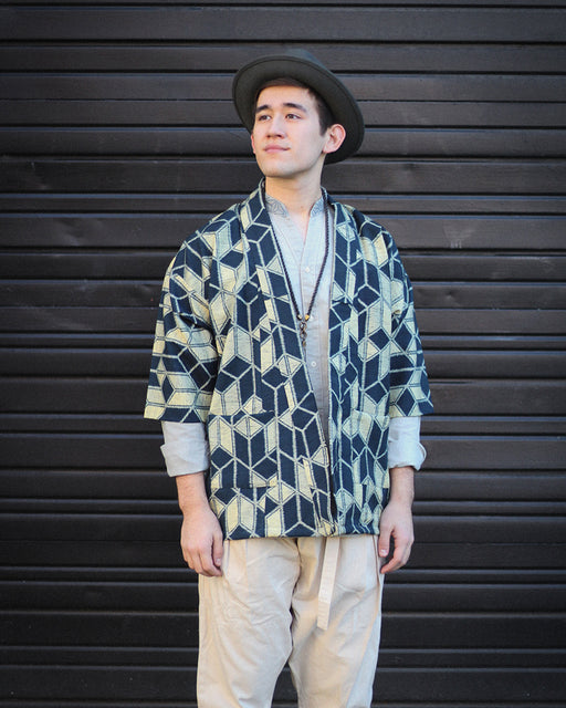 Altered Kimono Jacket, Cream with Grey Blue Yagasuri