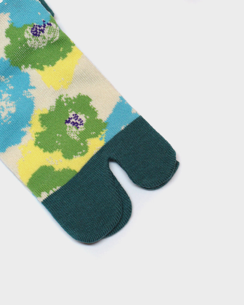 Tabi Socks, Green and Blue, Abstract Tsubaki (S/M)