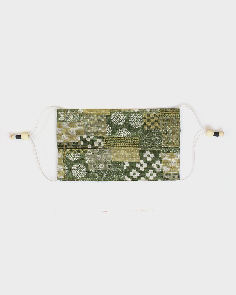 Face Mask, Matsuba-Iro Patchwork Style (Pleated Rectangle)