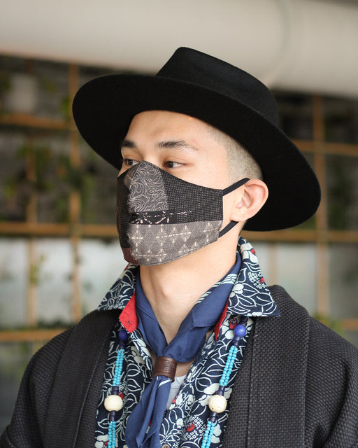 Face Mask, Charcoal Patchwork Style