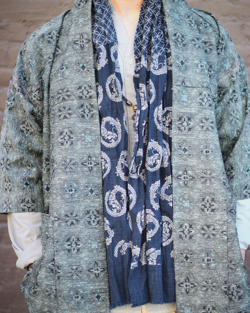 Two Tone Kiji Scarf, Indigo, with Shippou and Dragon