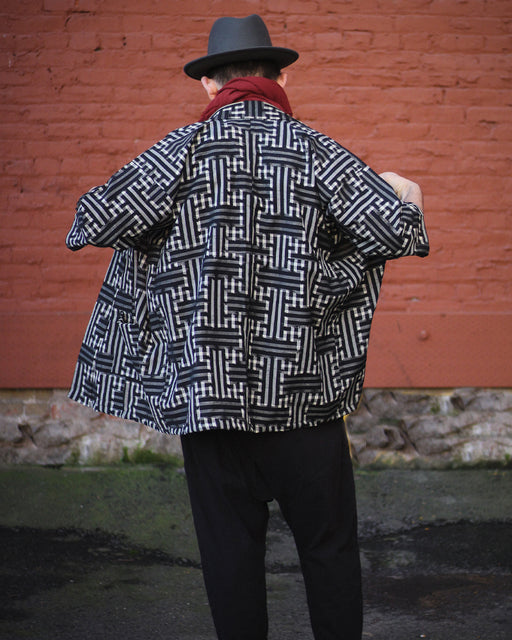 Altered Kimono Jacket, Black with Sayagata and Sankuzushi