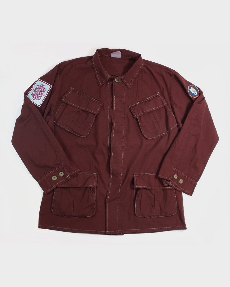 Patched Azuki Military Jacket, Ainu, Solid