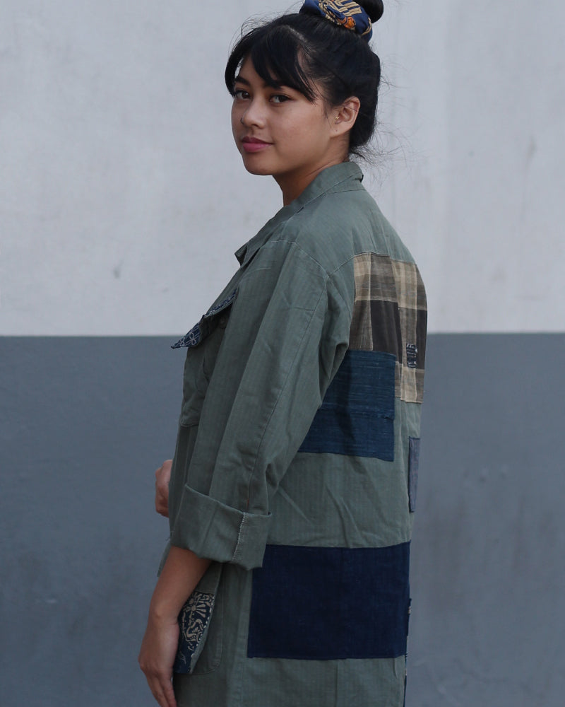 Green Patched Military Jacket, with Katazome, Shippou and Boro