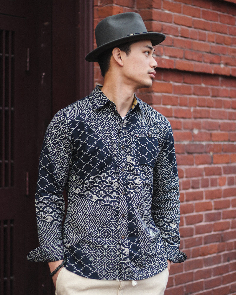 Button-Up Shirt, Long Sleeve, Multi, Sayagata and Shippou