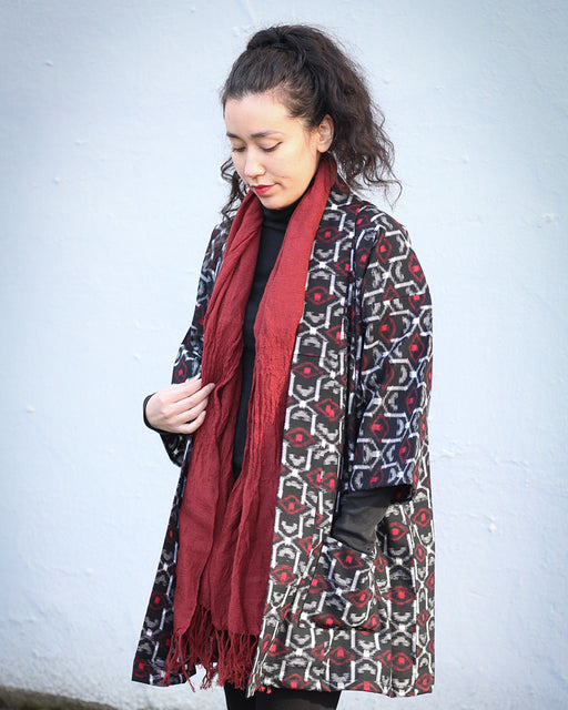 Altered Kimono Jacket, Black, White and Red Abstract Pattern
