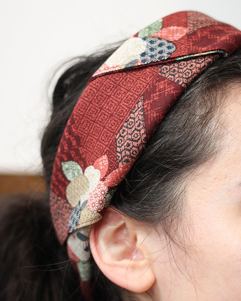 Bandana, Red Patchwork Style, Flowers