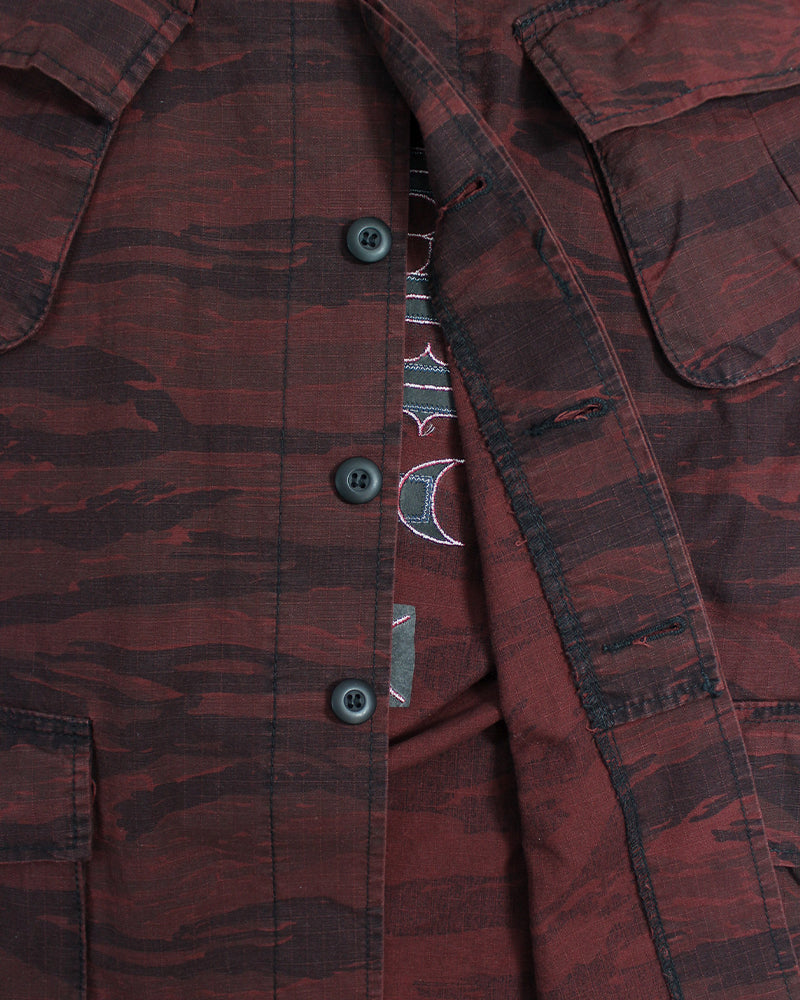 Patched Azuki Military Jacket, Ainu with Camo Ripstop