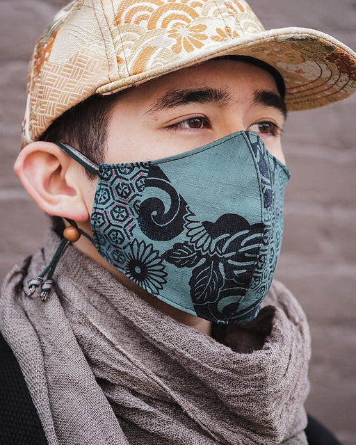 Face Mask, Teal Multi Kiku (Adjustable Cord)