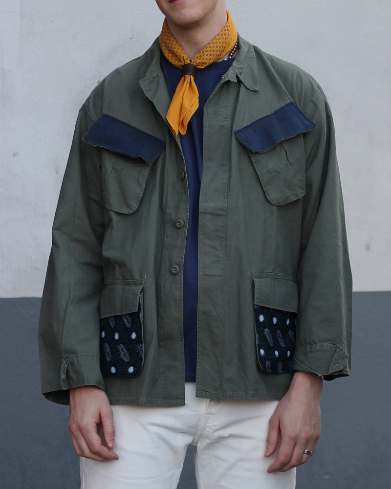 Green Patched Military Jacket, with Kasuri