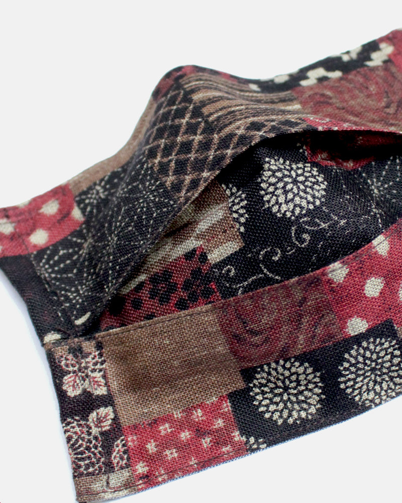 Face Mask, Black Cord, Azuki Patchwork Style (Pleated Rectangular)