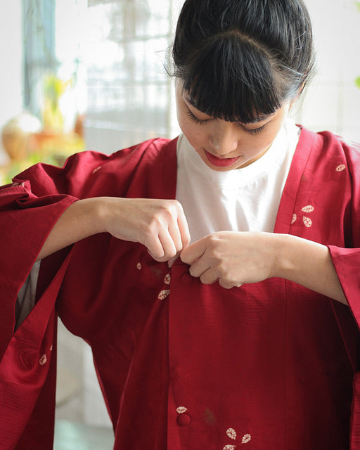 Vintage Michiyuki Jacket, Red with Fallen Leaves
