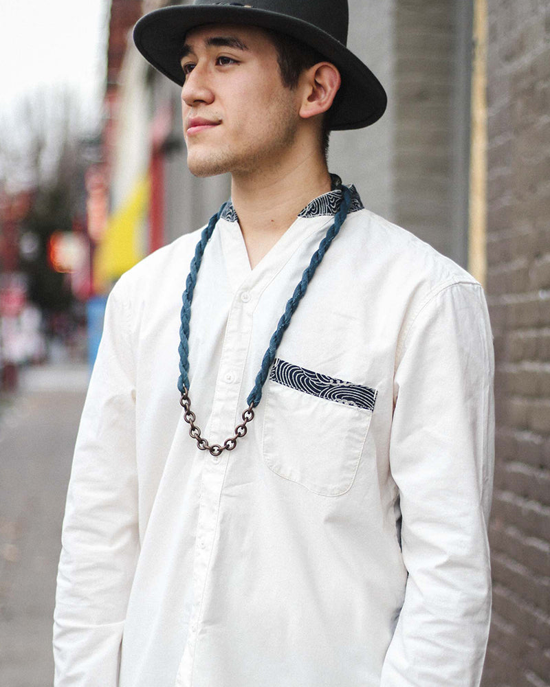 Button-Up Shirt, Mandarin Collar, V-Neck, Long Sleeve, White, Indigo Nami