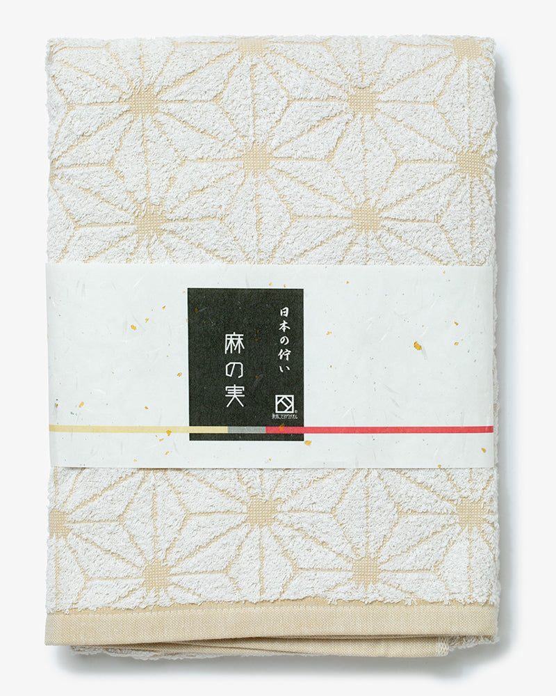 Fukuroya Bath Towel, Light Tan Asanoha