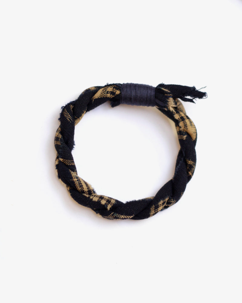 Boet X Kiriko Boro Bracelet, Dark Indigo and Cream Kasuri, Plaid, Navy Thread