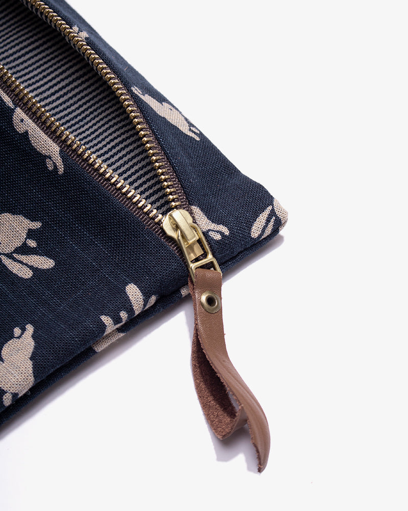 Flat Medium Zipper Pouch, Indigo Usagi