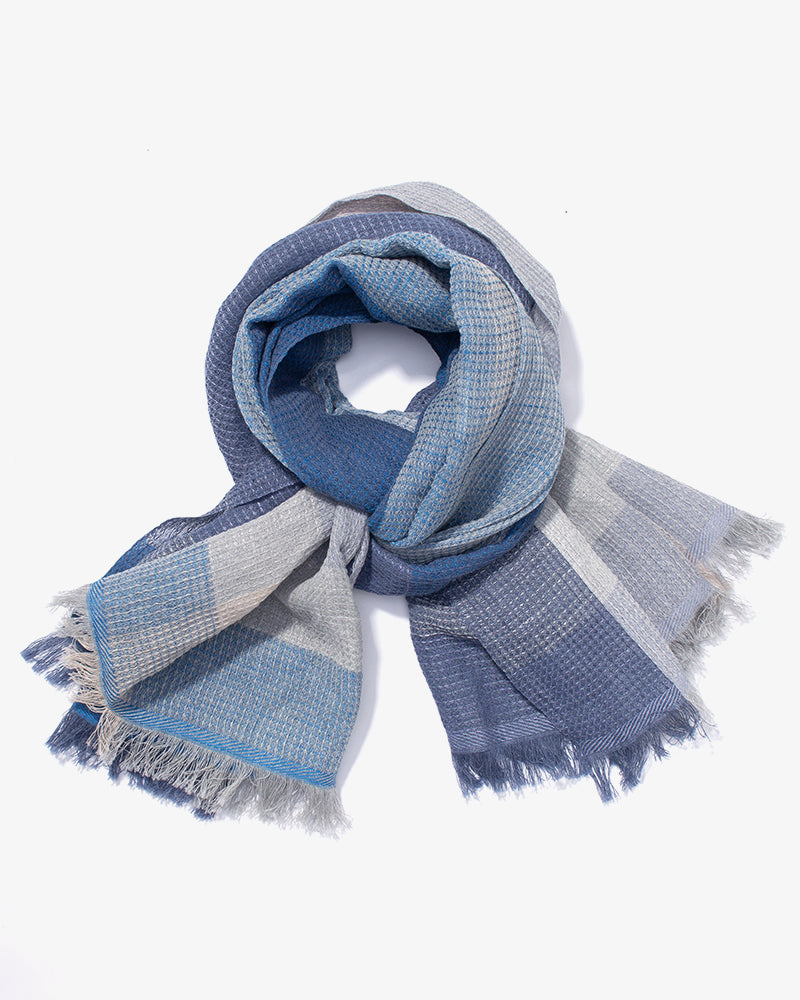 Kobo Oriza, Waffle Shawl, Blue, Light Blue and Grey