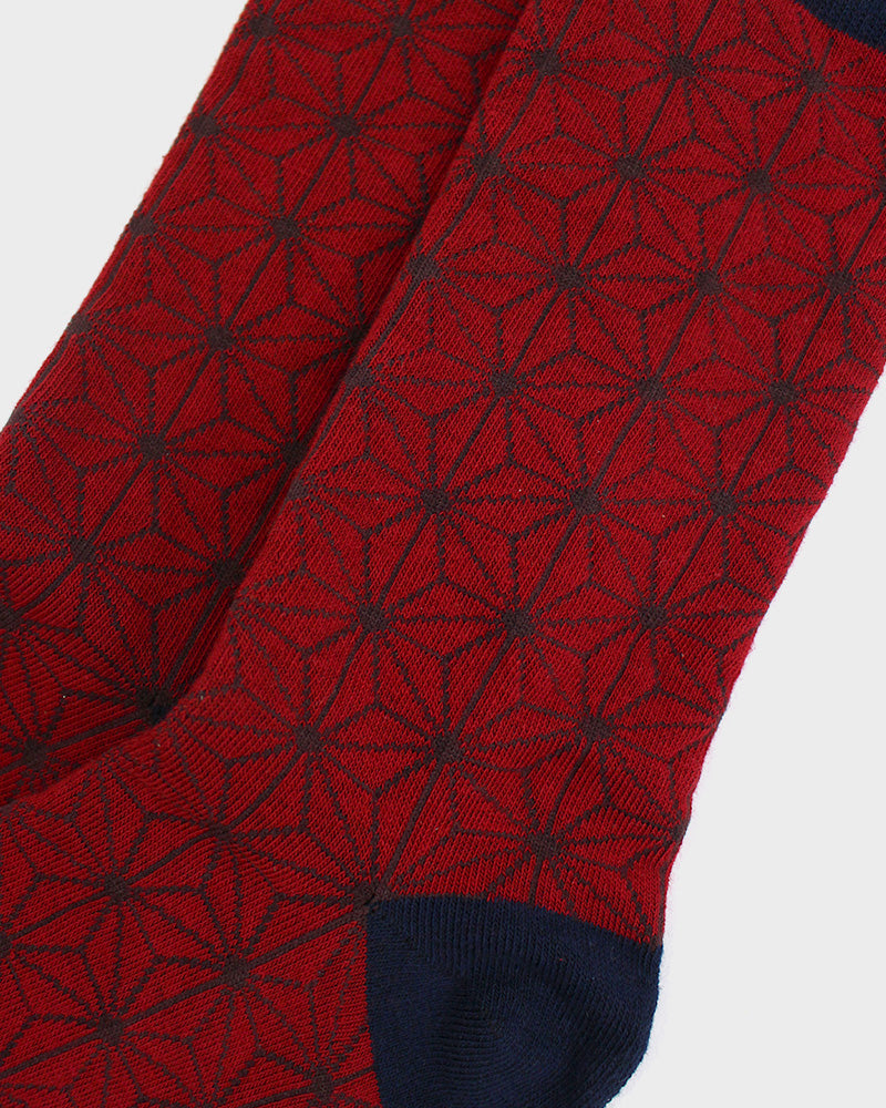 Asanoha Socks, Red and Navy