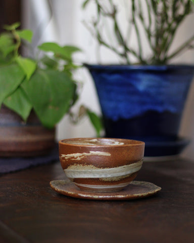 Mashiko-Yaki Rustic Brown Tea Cup, 2