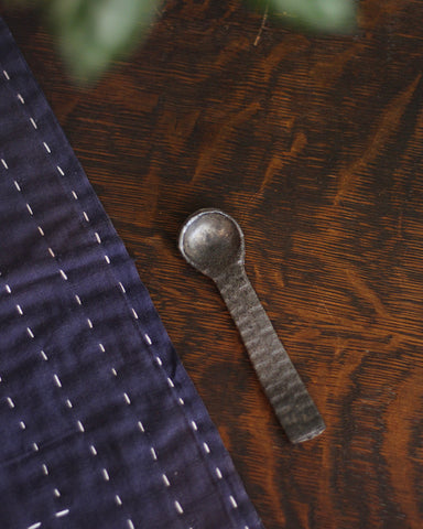 Mashiko-Yaki Hand-made Grey Ridged Spoon