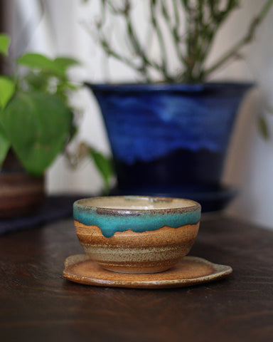 Mashiko-Yaki Rustic Brown and Turquoise Tea Cup