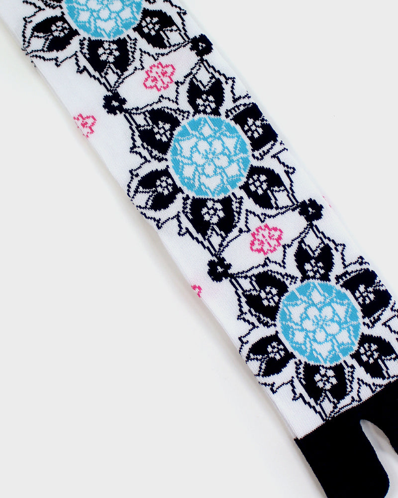 Tabi Socks, Abstract Floral, Navy and White (M/L)