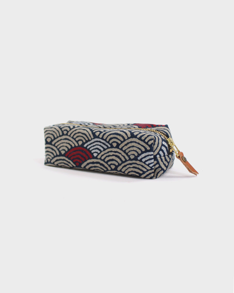 Pencil Pouch, Large Seigaiha