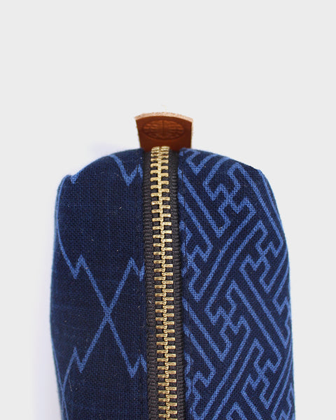 Pencil Pouch, Navy Blue Large Multi Pattern