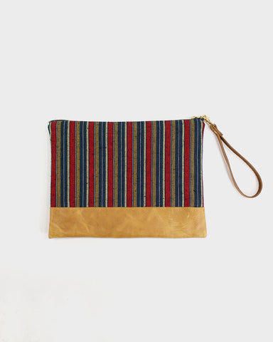 Shima Leather Clutch, Thick Red Stripes
